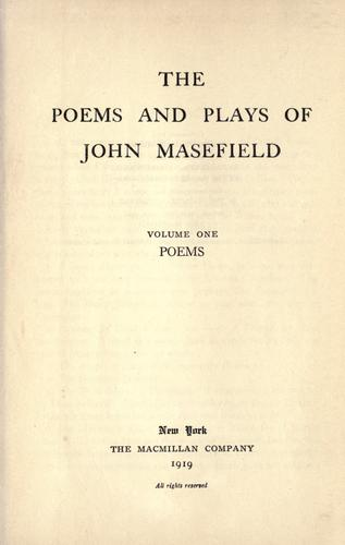 Download The poems and plays of John Masefield.