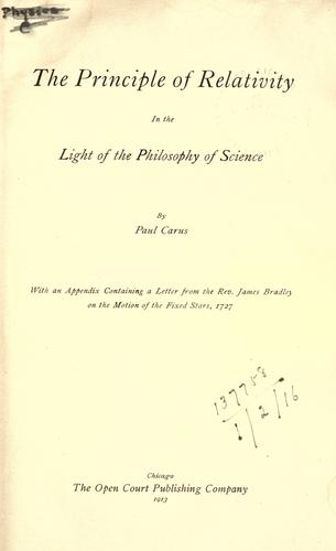 The principle of relativity in the light of the philosophy of science.