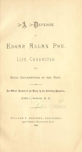 A defense of Edgar Allan Poe.