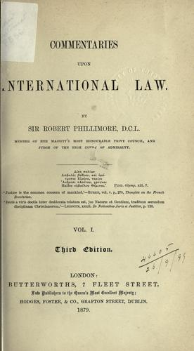 Commentaries upon international law.