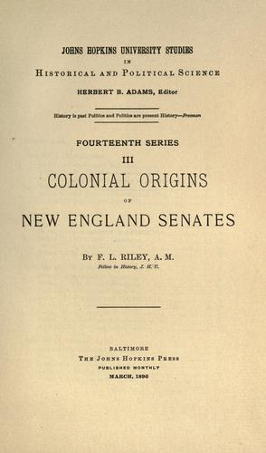 Colonial origins of New England senates