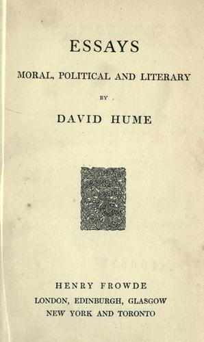 Essays, moral, political and literary.