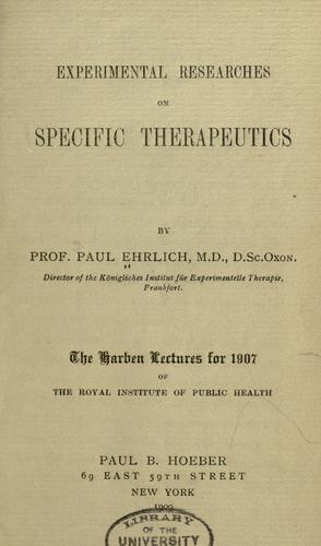 Download Experimental researches on specific therapeutics