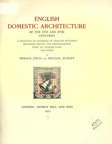 Download English domestic architecture of the XVII and XVIII centuries