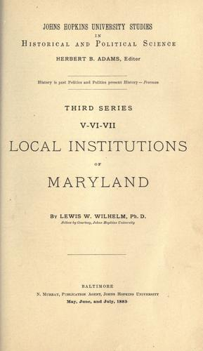 Download Local institutions of Maryland