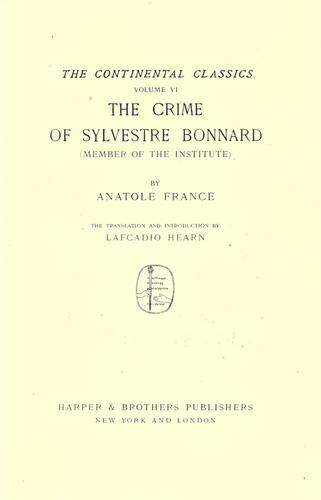 The crime of Sylvestre Bonnard (member of the Institute).