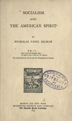 Download Socialism and the American spirit