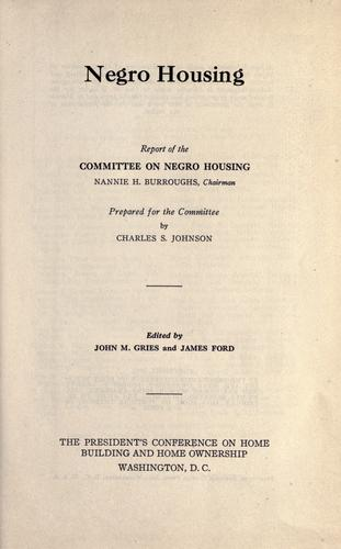 Download Negro housing