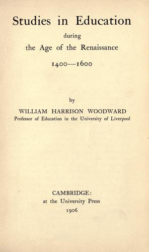 Studies in education during the age of the Renaissance, 1400-1600