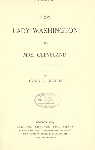 Download From Lady Washington to Mrs. Cleveland.