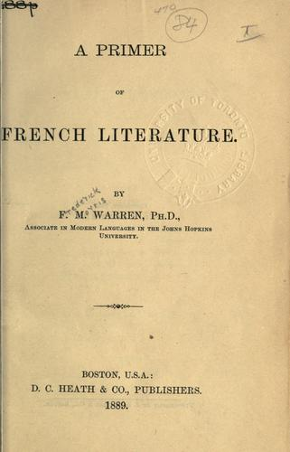 Download A primer of French literature.