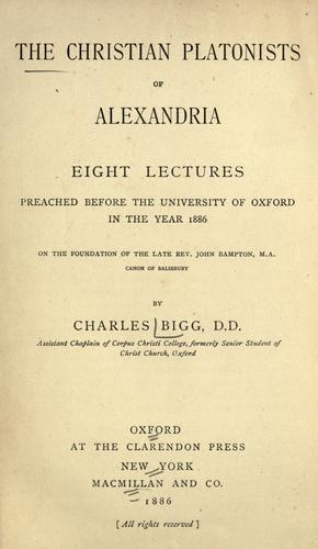 Download The Christian platonists of Alexandria