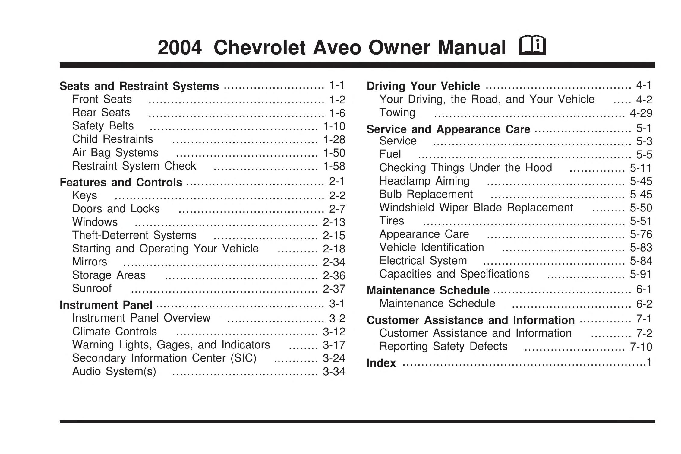 2004 Chevrolet Aveo Owner Manual General Motors Corp Free Download Borrow And Streaming Internet Archive