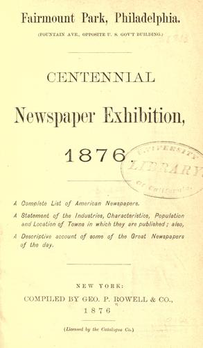 Centennial Newspaper Exhibition, 1876 by