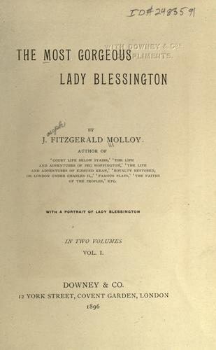 The most gorgeous Lady Blessington by Molloy, J. Fitzgerald