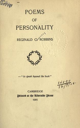Poems of personality by Robbins, Reginald Chauncey