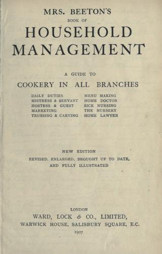 Mrs. Beeton's household management by Mrs. Beeton