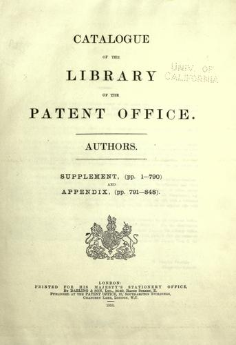 Catalogue of the library of the Patent office.